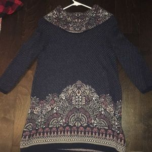 Anthropologie Sweaters - Navy sweater. Neck is loose turnover.